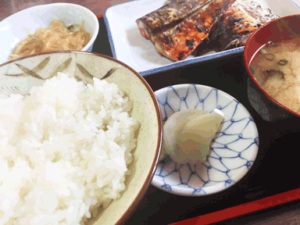 rice, soup and 3 dishes is the basic style of healthy Japanese food